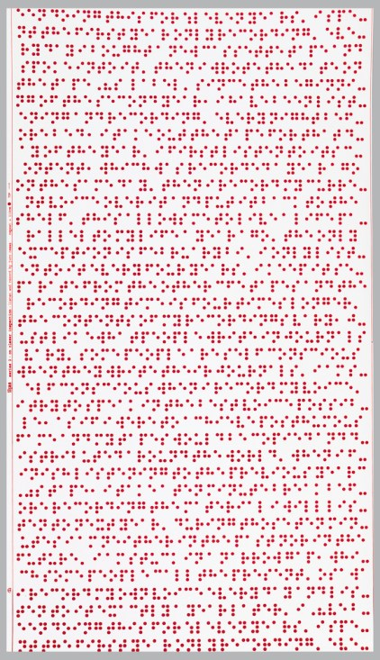"""Seemingly irregularly placed red flocked dots which form letters of the Braille alphabet, spelling out the """"listen and record"""" process used in creating this design."""