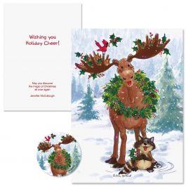 Merry Christmas Moose Christmas Cards Colorful Images