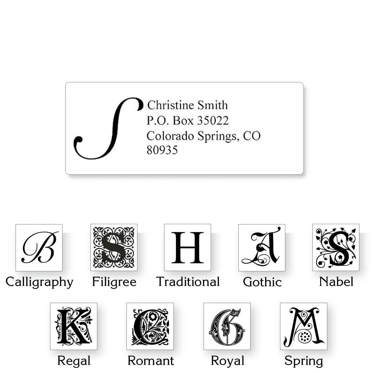 Initial Classic Return Address Labels Colorful Images