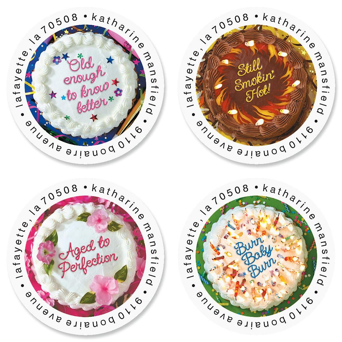 Cake Quips Round Return Address Labels Colorful Images