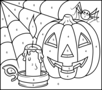 free printable color by numbers halloween