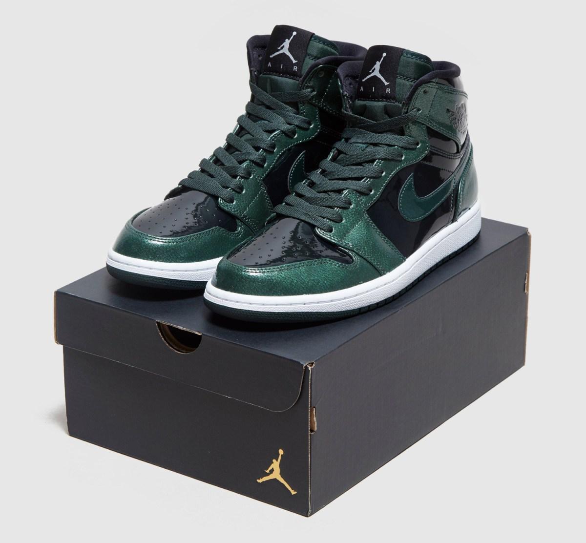 Air Jordan 1 Gorge Green Patent Leather 332550-300 Box