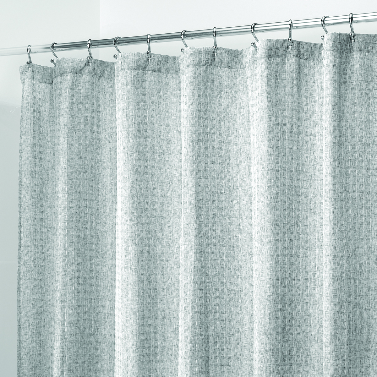 waffle weave heather grey shower curtain the container store