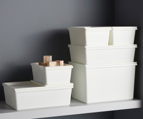White Plastic Stacking Bins With Lids The Container Store