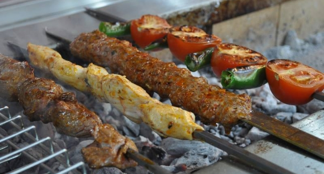 Kebabs cooking on the grill from Shiraz Palace in Liverpool