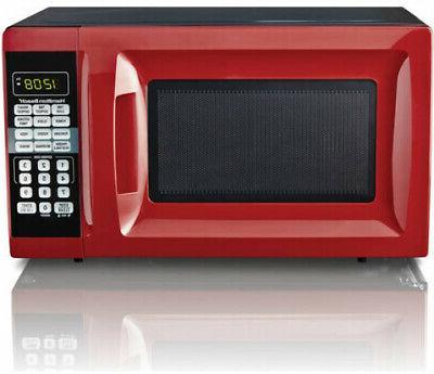 hamiltonbeach 0 7cu ft black 700w microwave oven 10 level countertop compact new home garden microwaves
