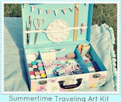 art kit,traveling art kit,vintage art kit,art kit in old suitcase,traveling arts and crafts