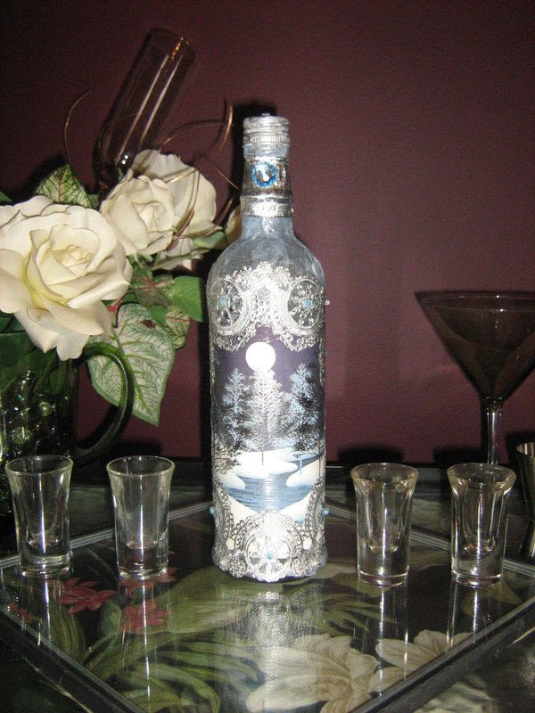 Altered Bottles With Antique Doilies A Storage Bottle