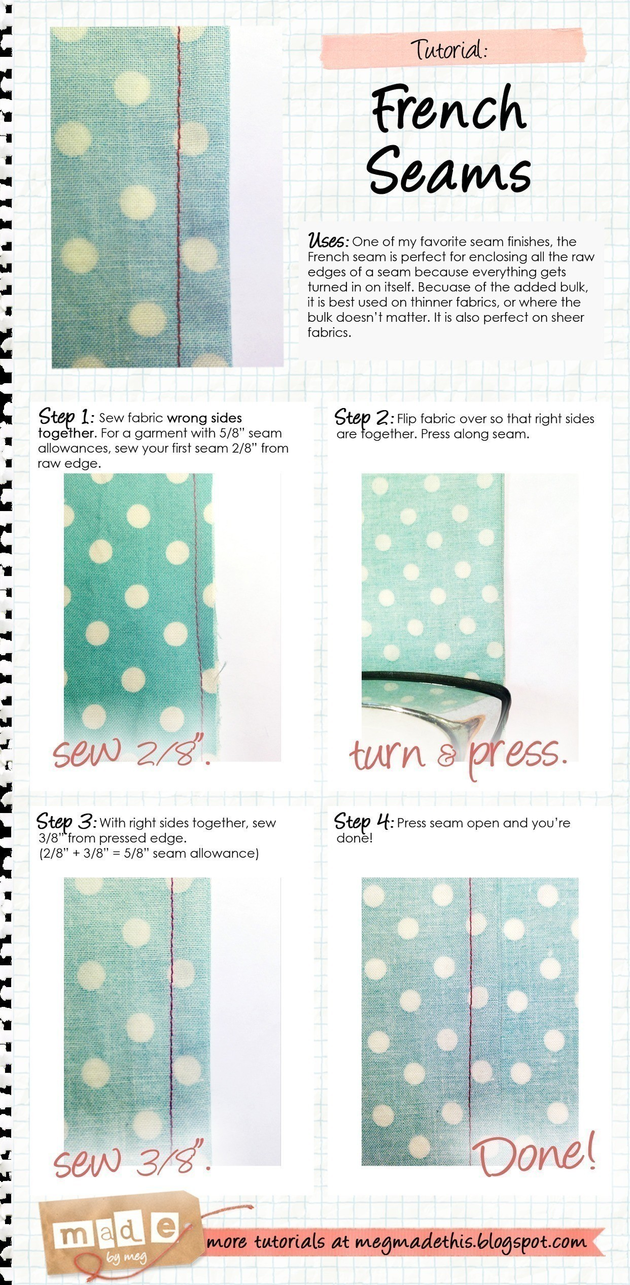 French Seams How To Sew A Seam Sewing On Cut Out