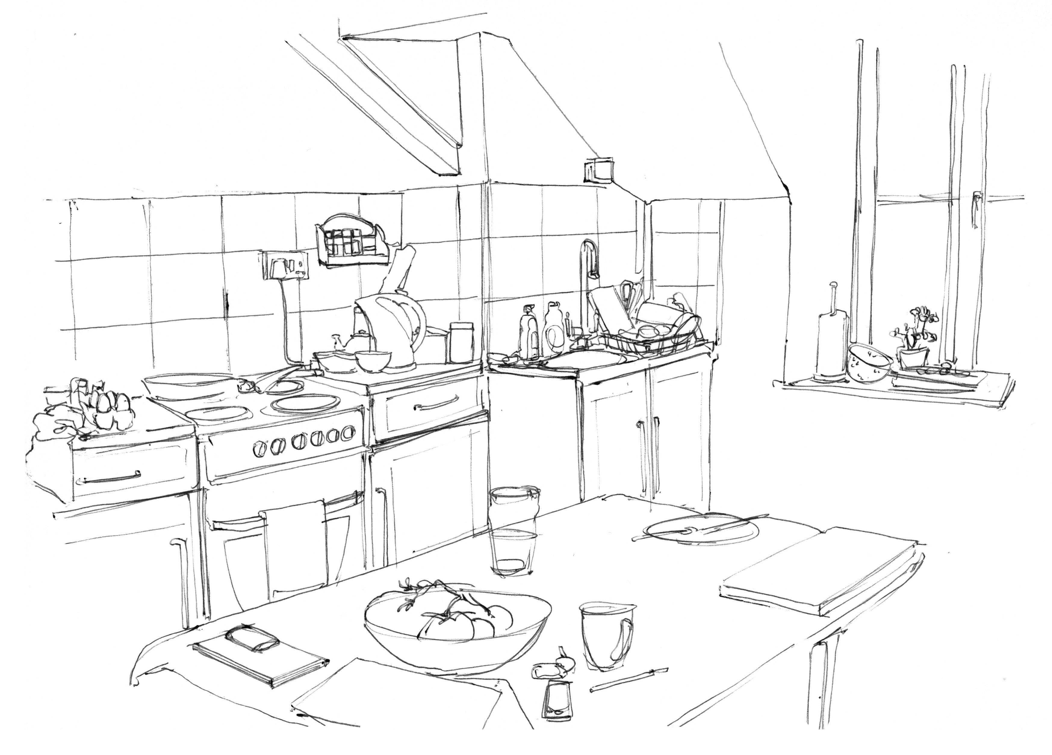A Simple Line Drawing Of A Room How To Make A Drawing