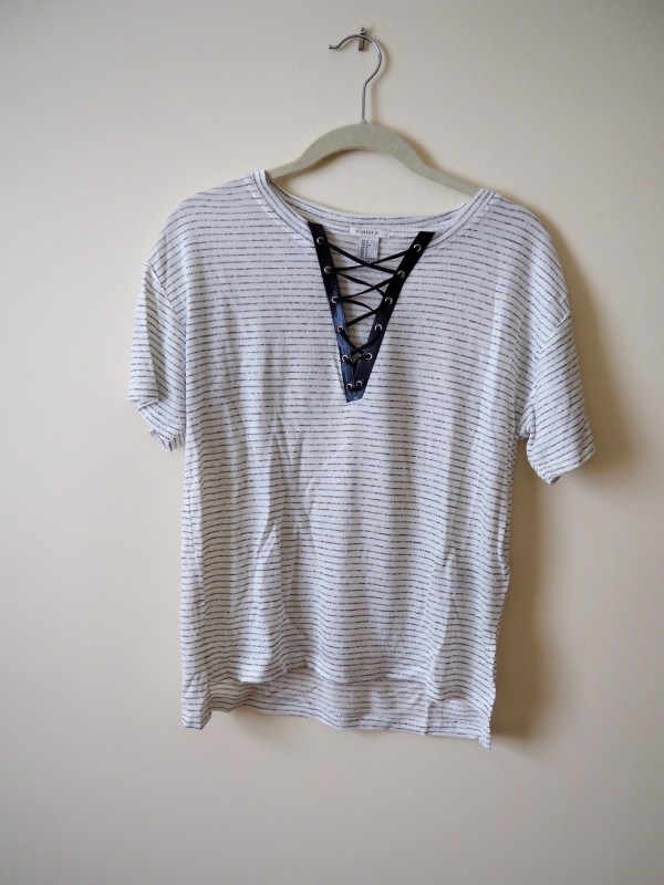 No Sew Lace Up Shirt · How To Make A Revamped T Shirt ...