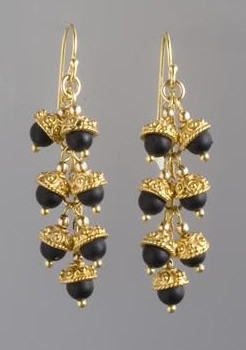 Black Onyx And Gold Earrings Extract From Simply