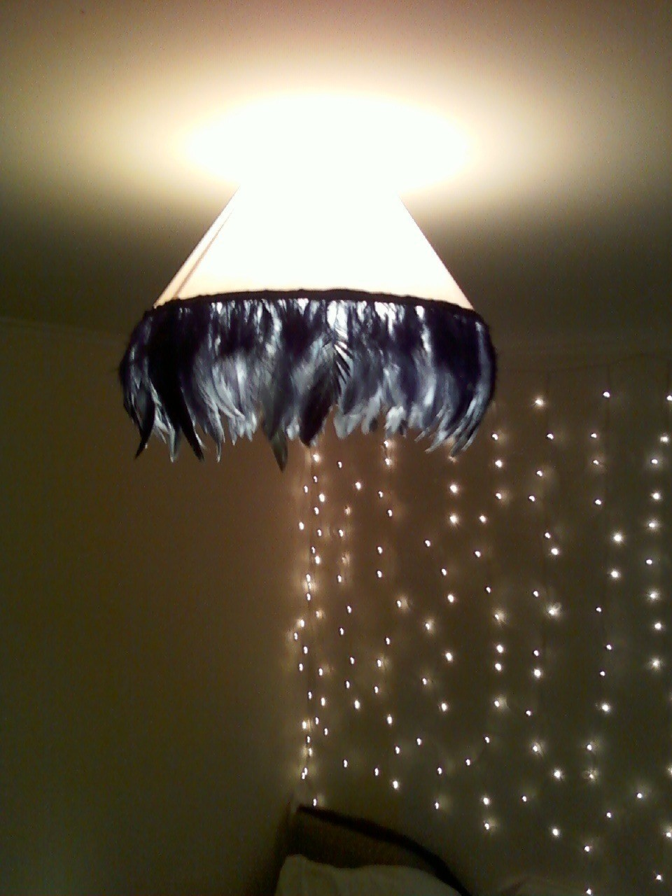 Vintage Glam Feather Lampshade From Old Ceiling Shade