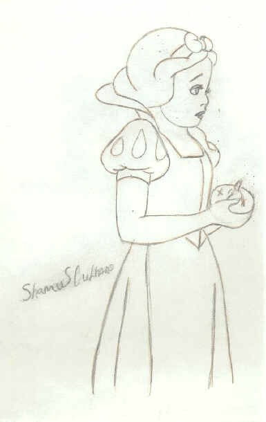 Sweet Snow White A Drawing Drawing On Cut Out Keep