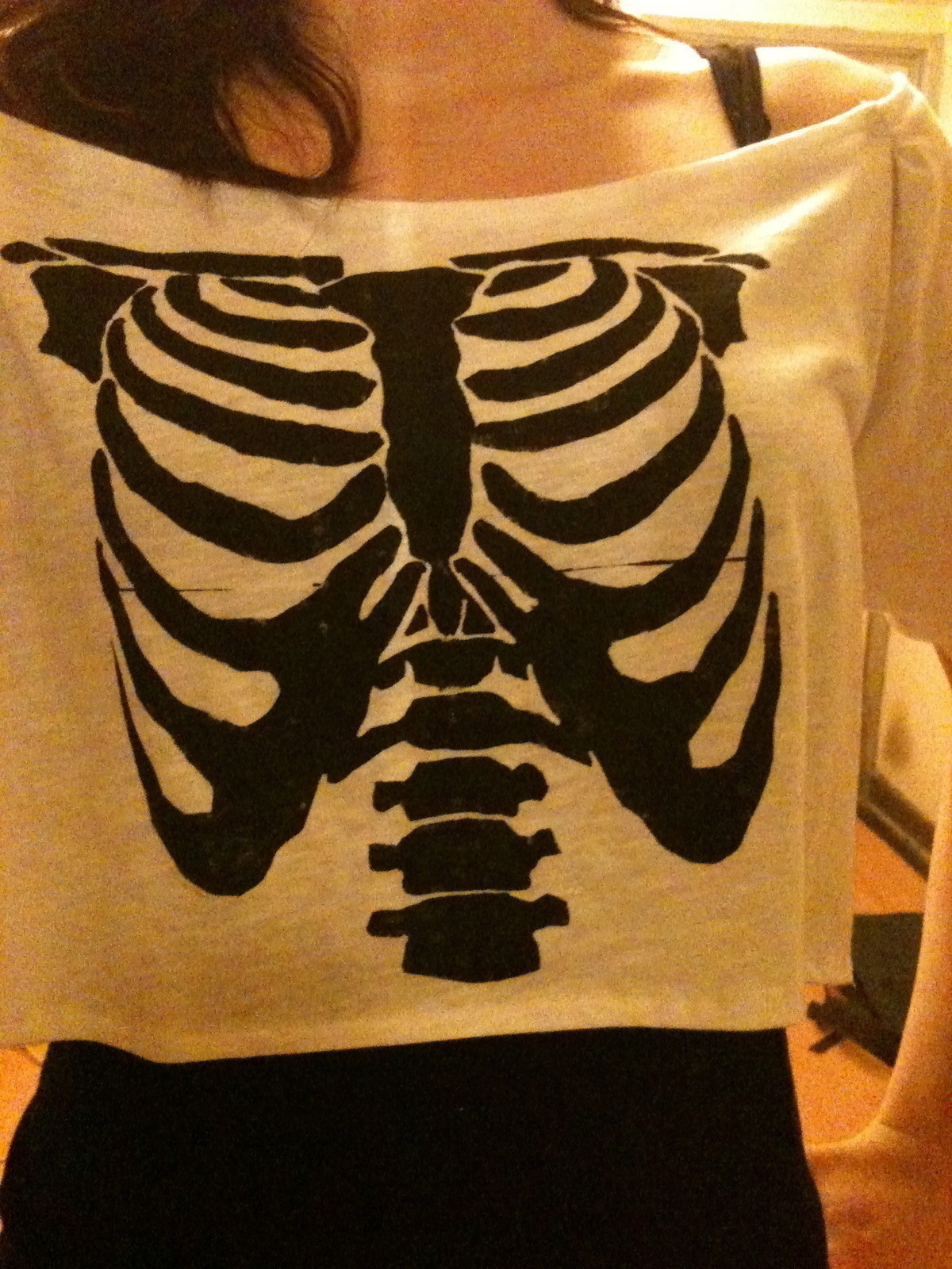 Skeleton Top A T Shirt Stencilling And Sewing On Cut