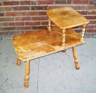 refinish an old wooden end table how