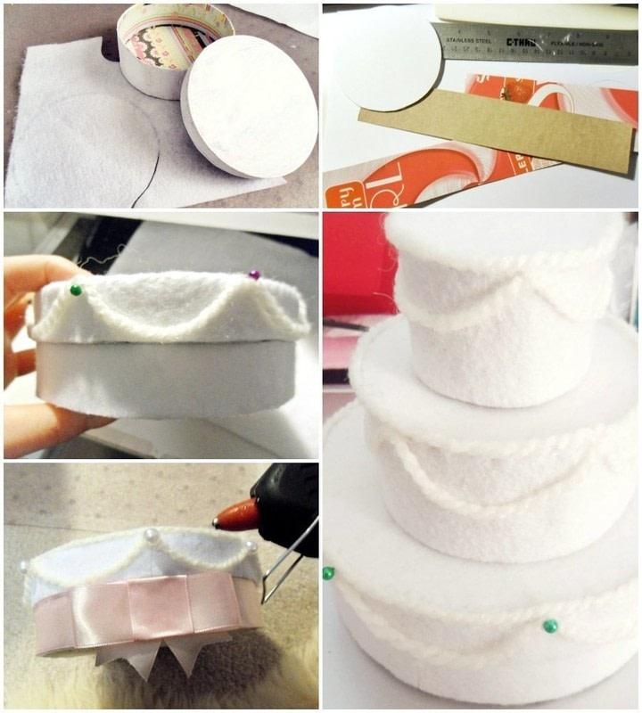 Felt Wedding Cake Gift Box      How To Make A Decoration      Needlework     How to make a decoration  Felt Wedding Cake Gift Box   Step 1