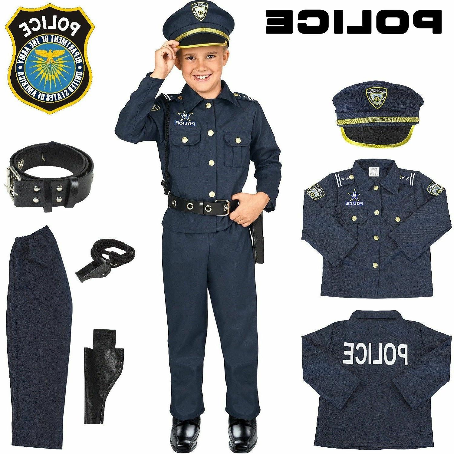 Police Officer Costume Kids Halloween Cosplay Boys Outfit