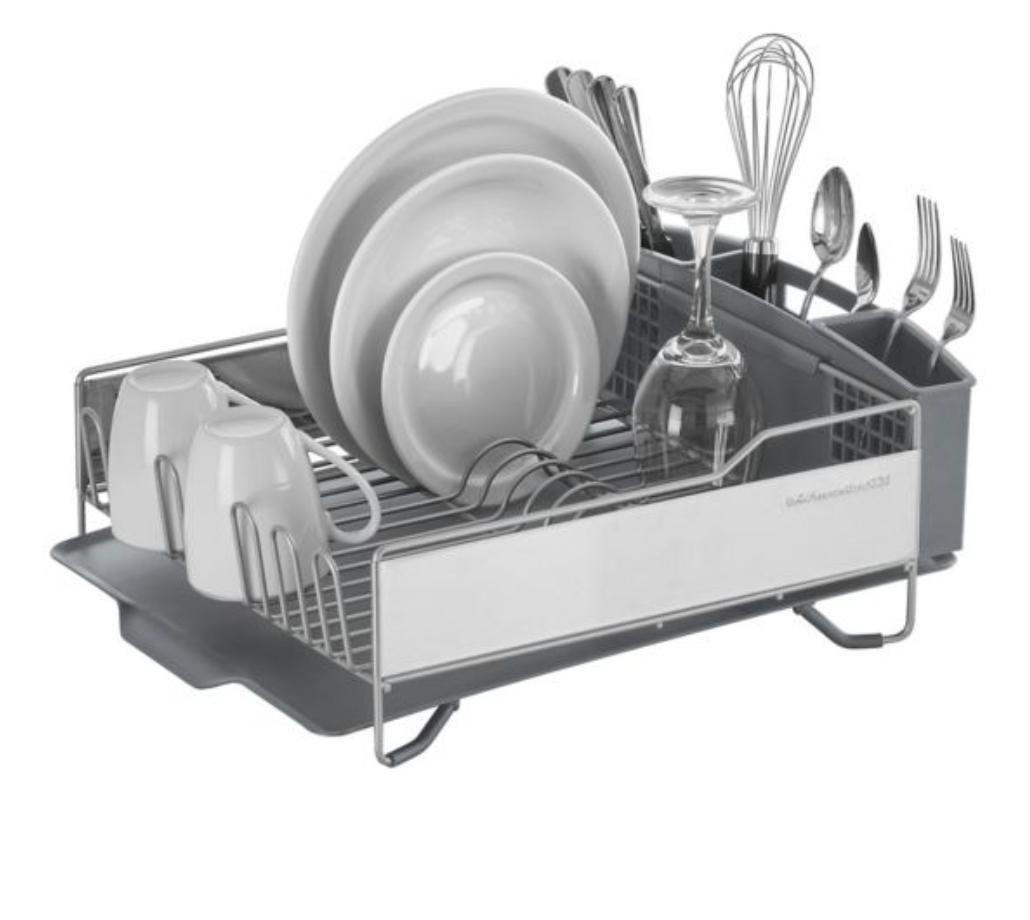 full size dish rack light grey