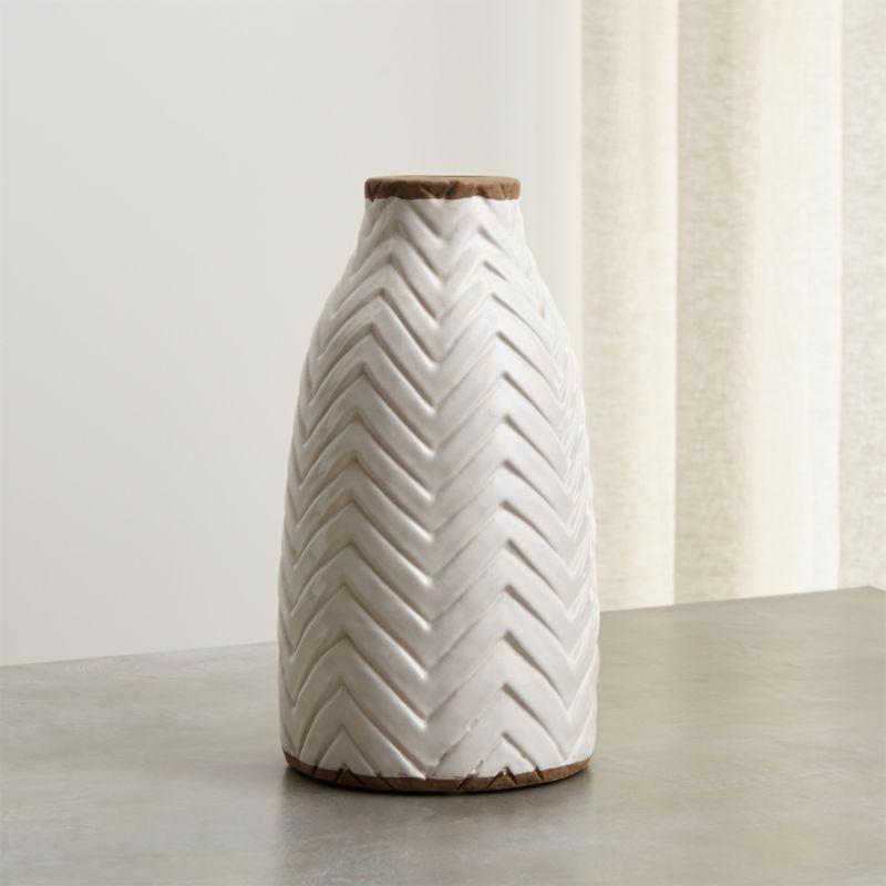 Adra White Chevron Vase Reviews Crate And Barrel