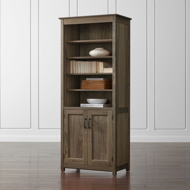 Ainsworth Walnut 30 Media Tower With GlassWood Doors Crate And Barrel