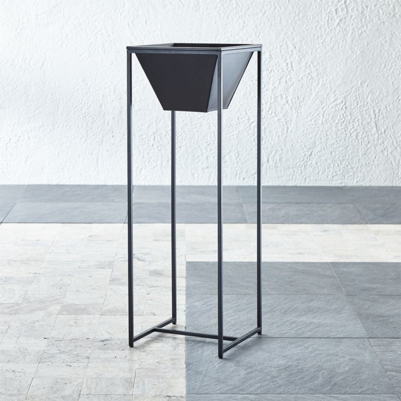 Astra Single Tall Black Planter Reviews Crate And Barrel