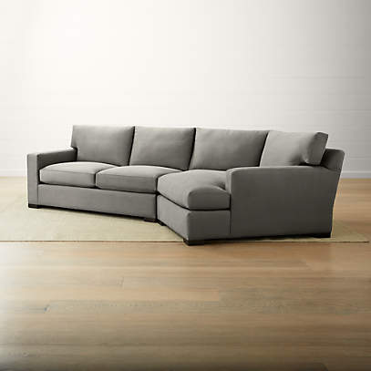 axis ii 2 piece right arm angled chaise sectional sofa