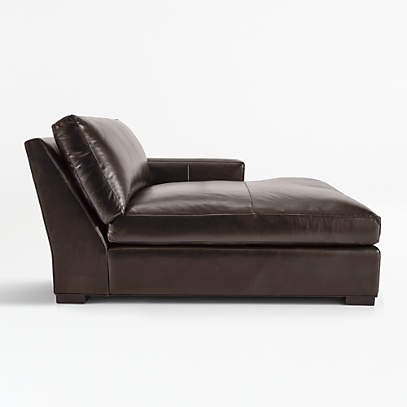 axis ii leather right arm double chaise lounge crate and barrel