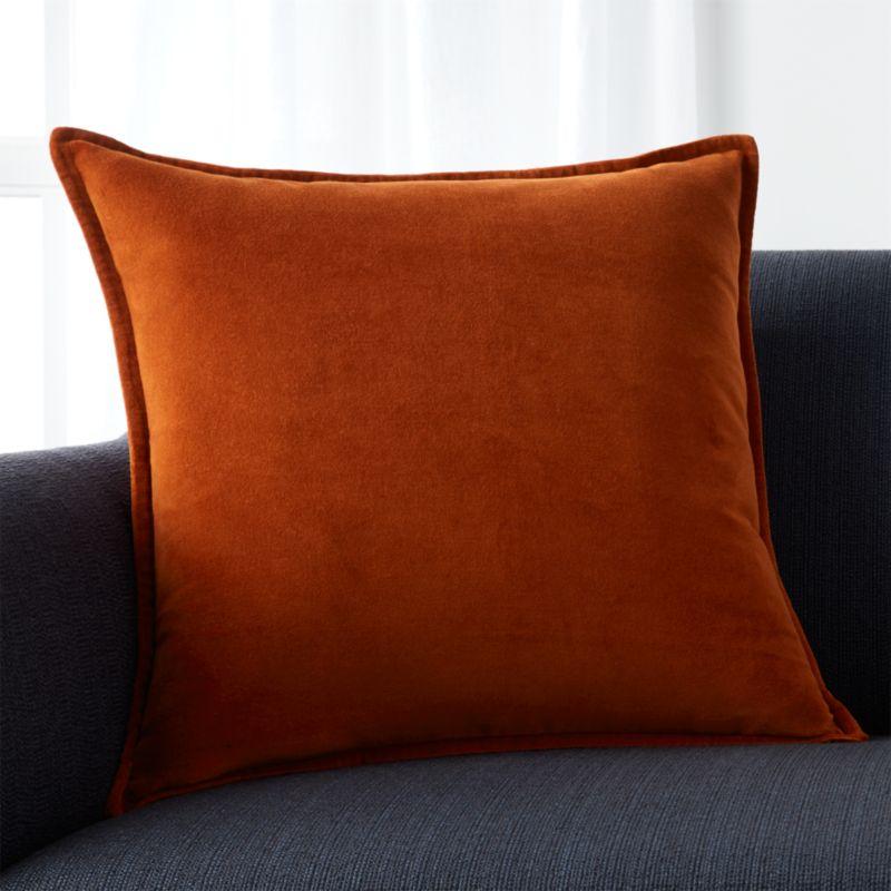Brenner Rust Orange 20 Velvet Pillow With Feather Down