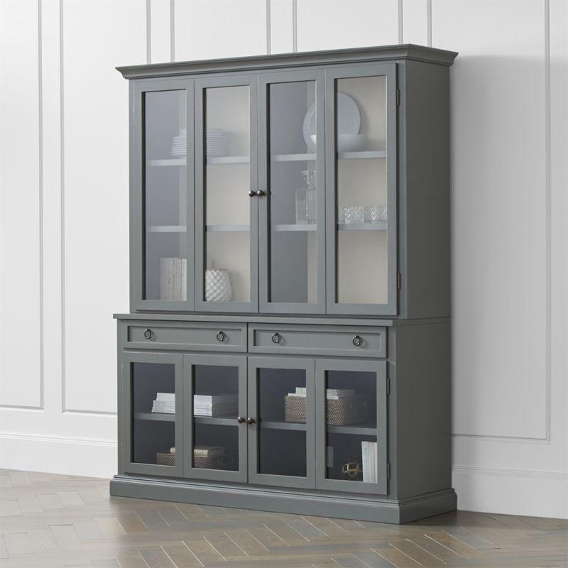 cameo 2 piece modular grey glass door wall unit