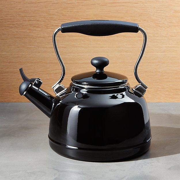 Chantal Vintage Black Whistling Tea Kettle Crate And