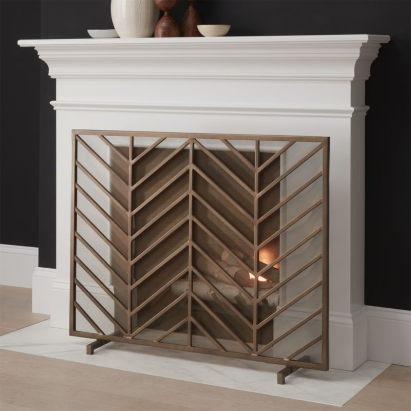 Chevron Brass Fireplace Screen Reviews Crate And Barrel
