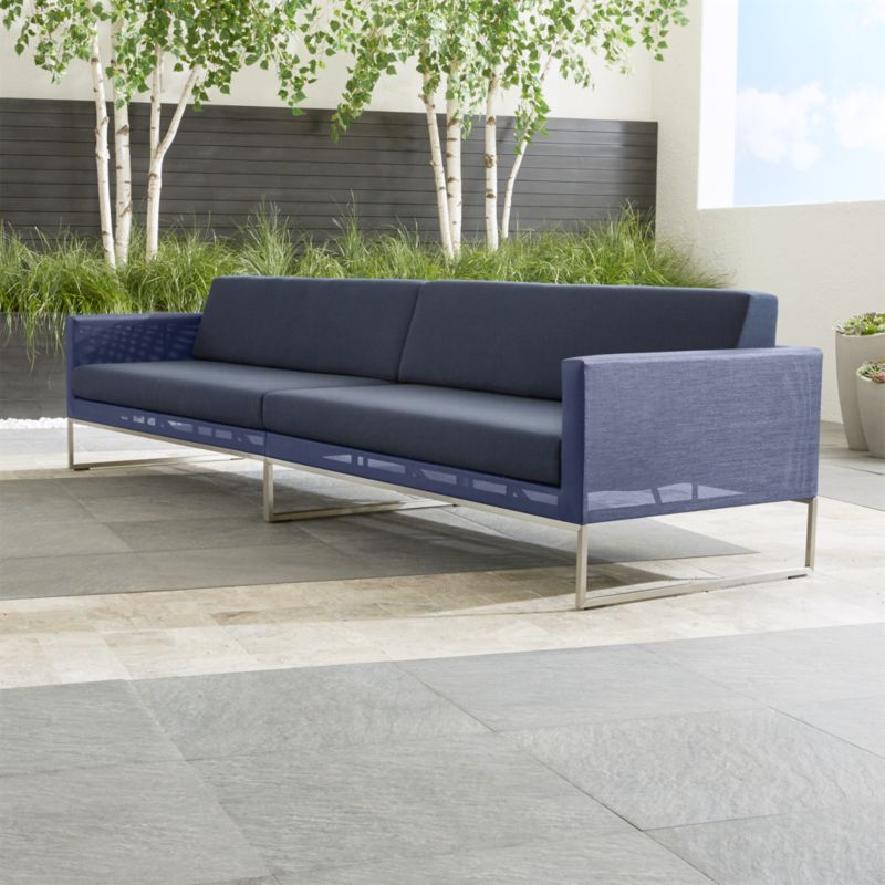 Dune Navy Sectional Sofa With Sunbrella Cushions Reviews