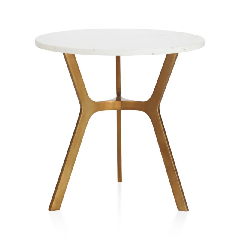 Elke Round Marble End Table With Brass Base + Reviews