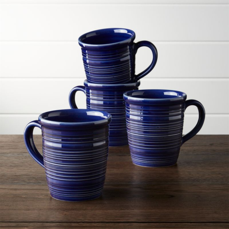 set of 4 farmhouse blue mugs crate and barrel on crate and barrel id=64244