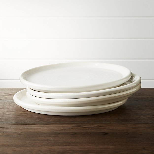 Set Of 4 Farmhouse White Dinner Plate Crate And Barrel