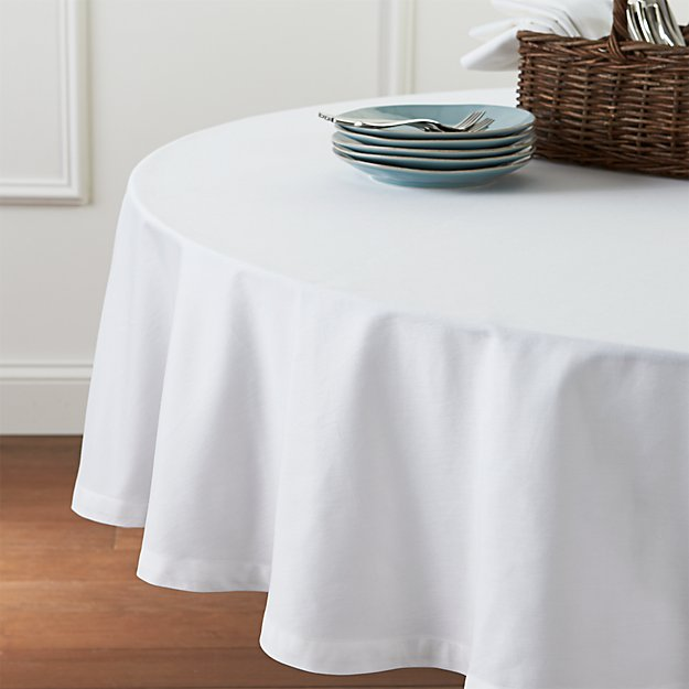 Fete White 90 Round Tablecloth Crate And Barrel
