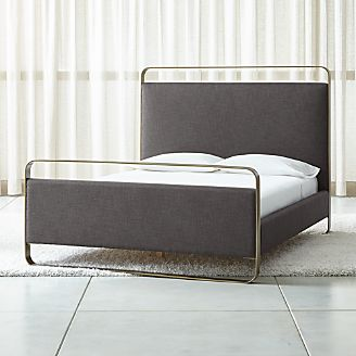 Beds   Headboards   Crate and Barrel Gwen Metal and Upholstered Bed