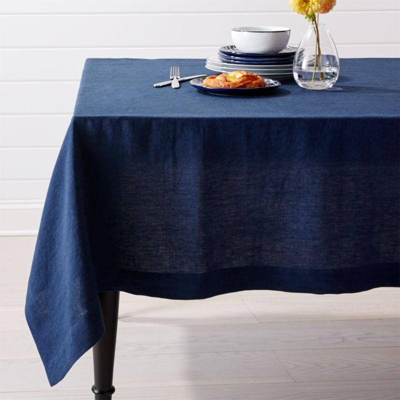 Helena Indigo Blue Linen Tablecloth Crate And Barrel