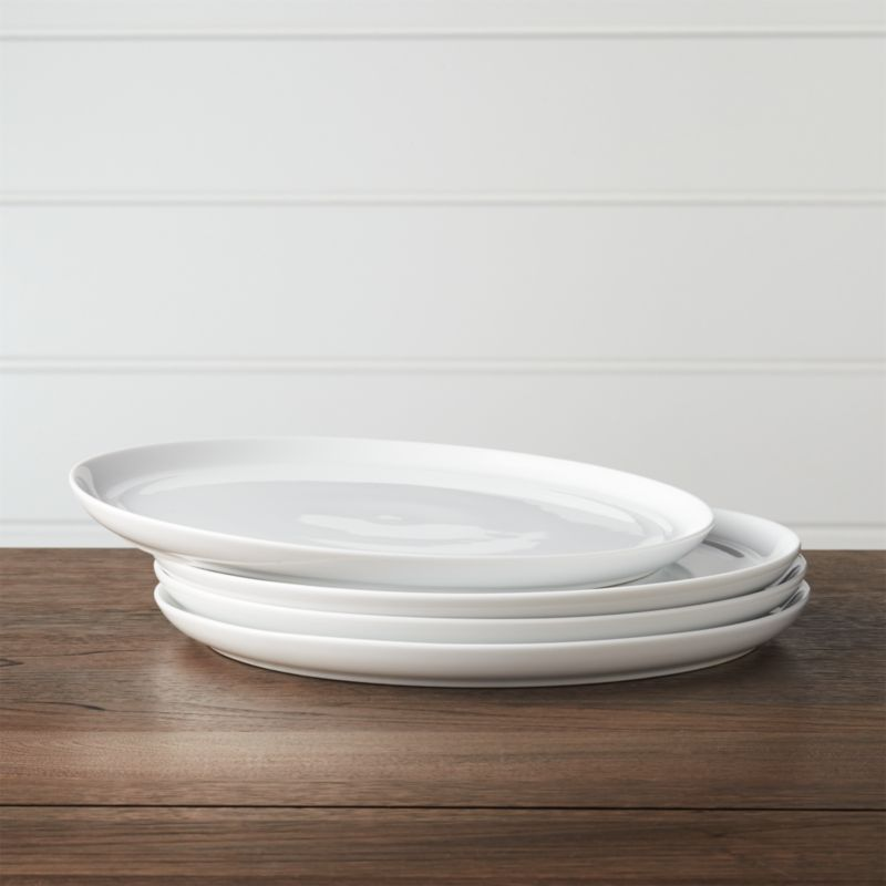 Set Of 4 Hue White Dinner Plates Reviews Crate And Barrel