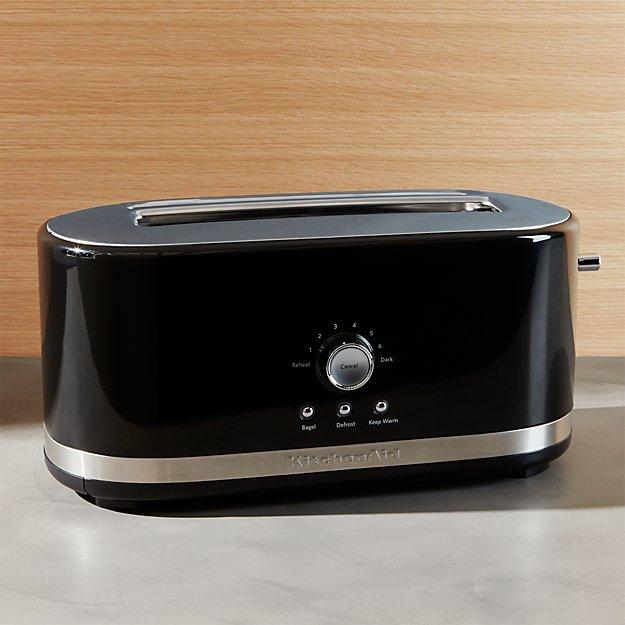 KitchenAid Onyx Black 4 Slice Long Slot Toaster Crate And Barrel