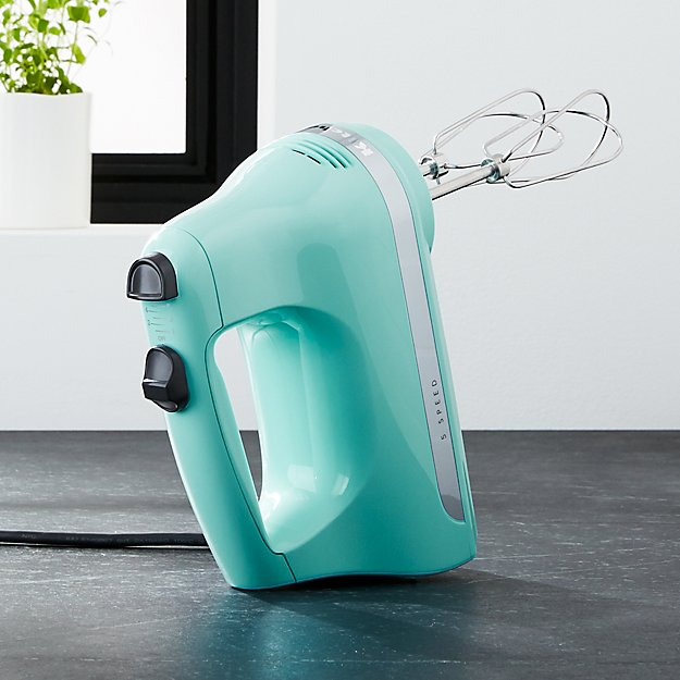 KitchenAid Ice Blue 5 Speed Hand Mixer Crate And Barrel