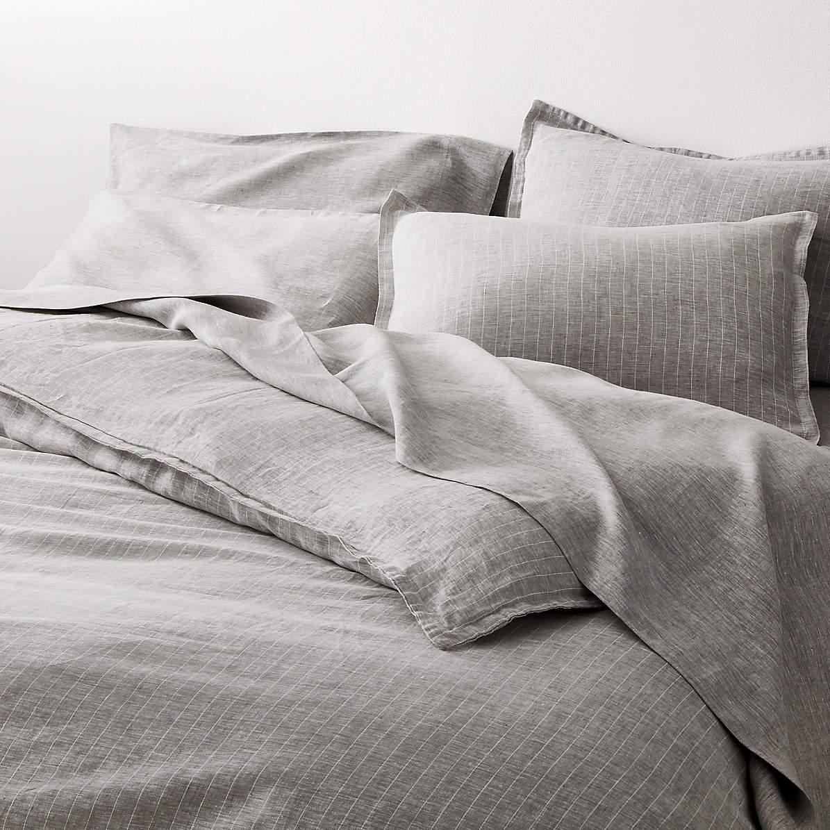 pure linen pinstripe grey duvet covers and pillow shams