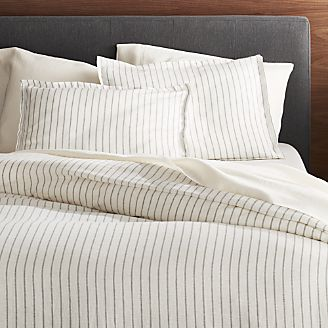 Bed Linens   Bedding Collections   Crate and Barrel Linen Wide Stripe Warm White Duvet Covers and Pillow Shams