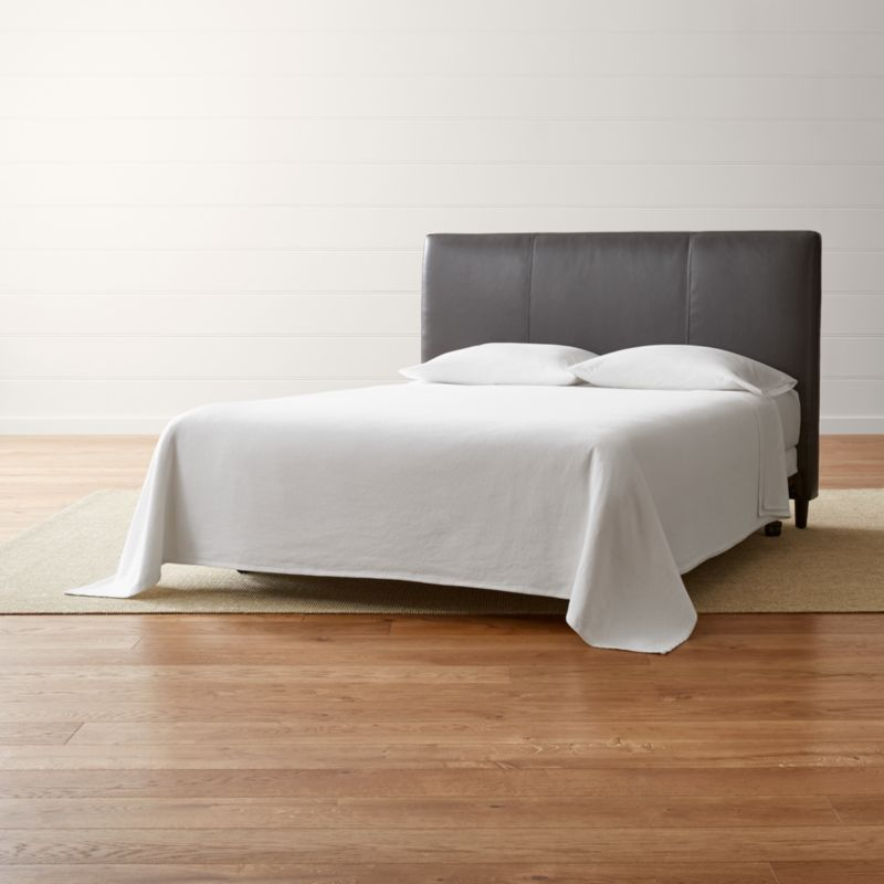Headboards   Crate and Barrel Lowe Smoke Grey Leather Queen Headboard