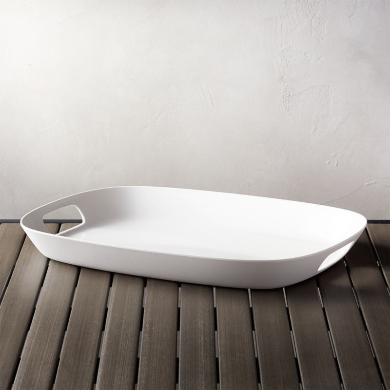 Lunea Melamine White 19 Quot X14 Quot Tray With Handles Reviews