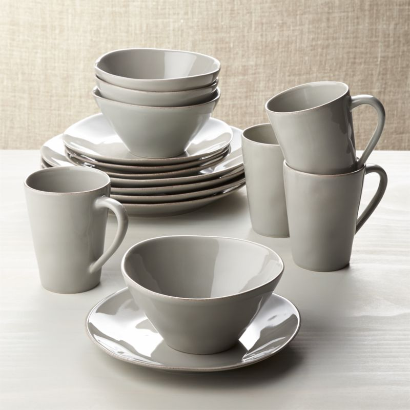 marin grey 16 piece dinnerware set crate and barrel on crate and barrel id=91252