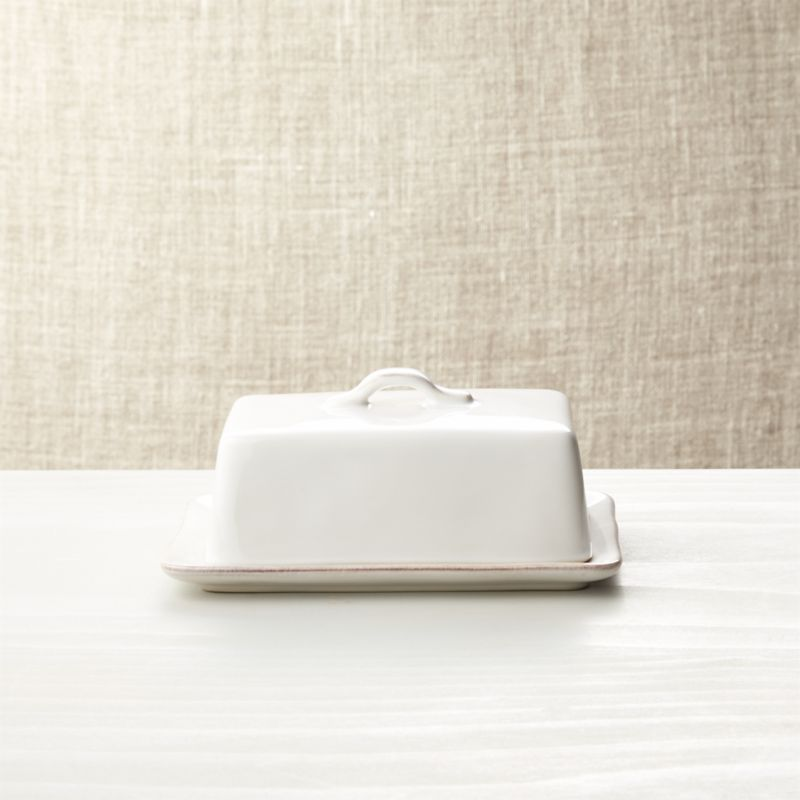 Marin White Covered Butter Dish Reviews Crate And Barrel