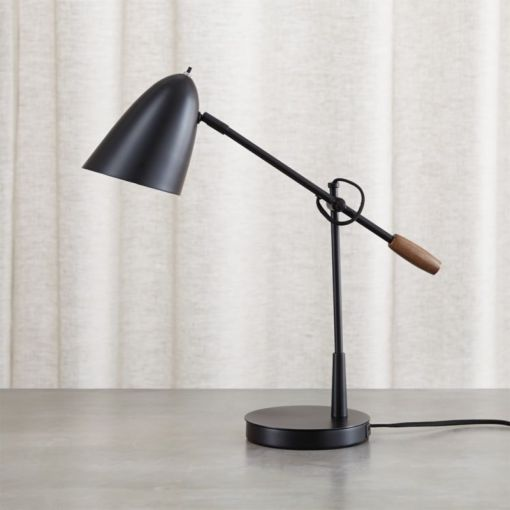 Morgan Black Metal Desk Lamp with USB Port   Reviews   Crate and Barrel