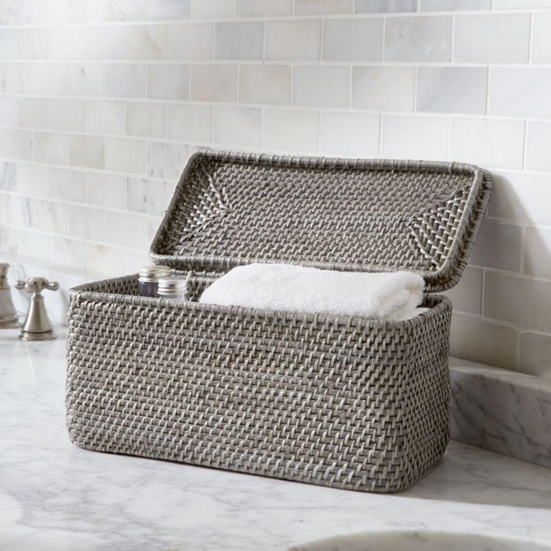 Sedona Grey Lidded Rectangular Tote Crate And Barrel